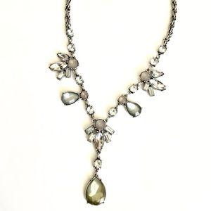 LOFT Crystal Pearlized Gemstone Y Necklace NWT $40